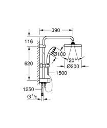 New Tempesta Sistem Duvar Bağlantılı, Divertörlü Duş Sistemi (27389002) - Thumbnail