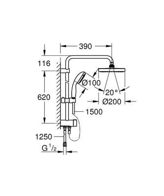 New Tempesta Sistem Duvar Bağlantılı, Divertörlü Duş Sistemi (27389002)